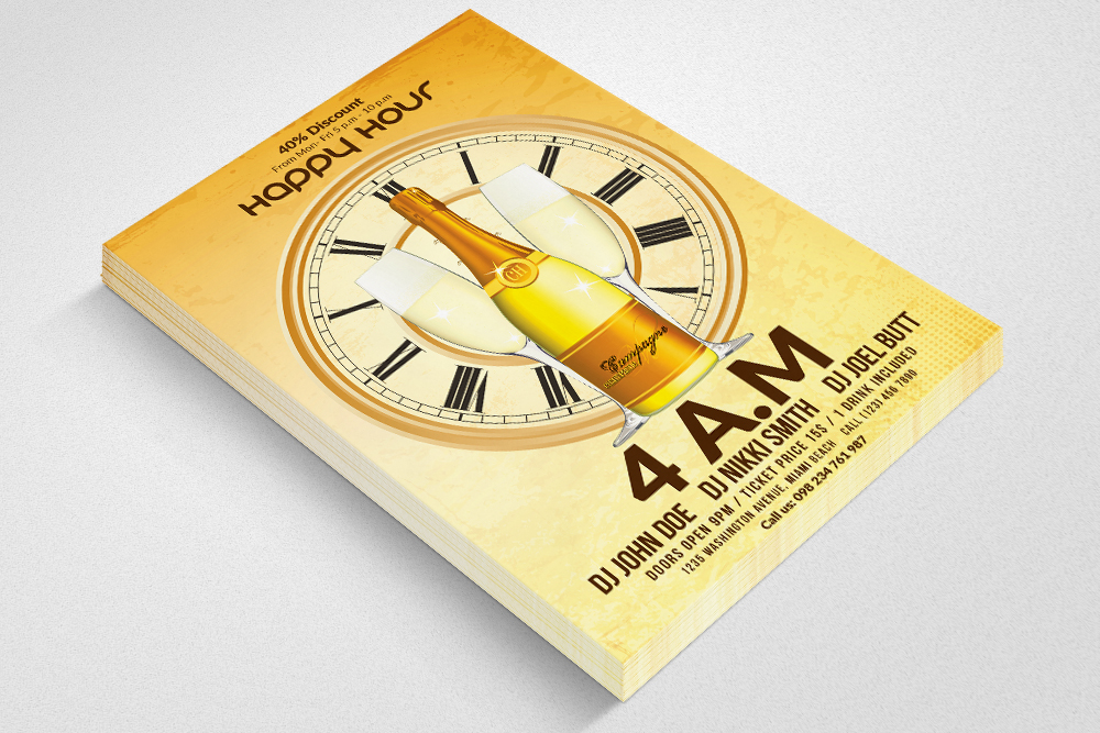Happy Hour Flyer Template 10 example image 2