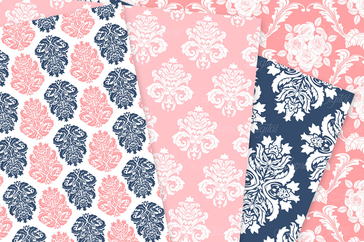 Coral and Navy Damask Patterns - Seamless Digital Papers example image 7