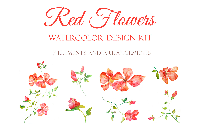 Red Blooming Flowers - Handmade watercolor design kit  example image 4