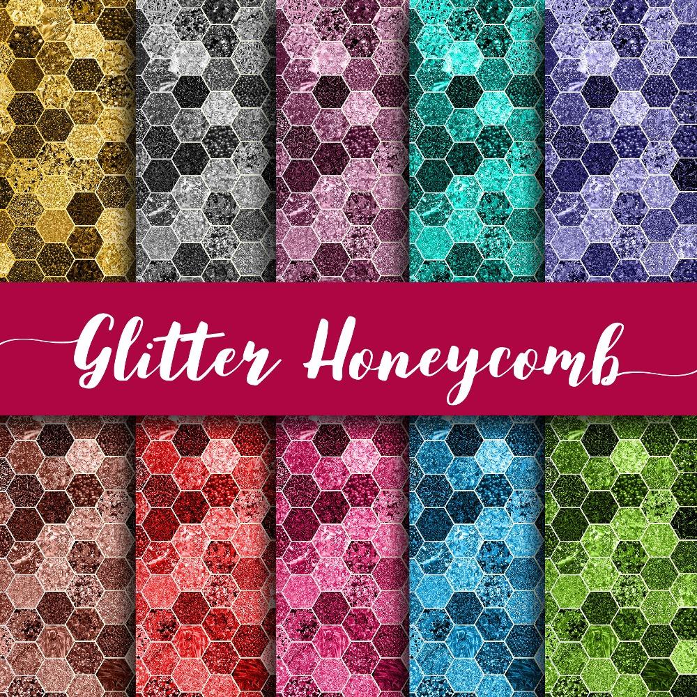 Glitter Honeycomb Digital Paper example image 1