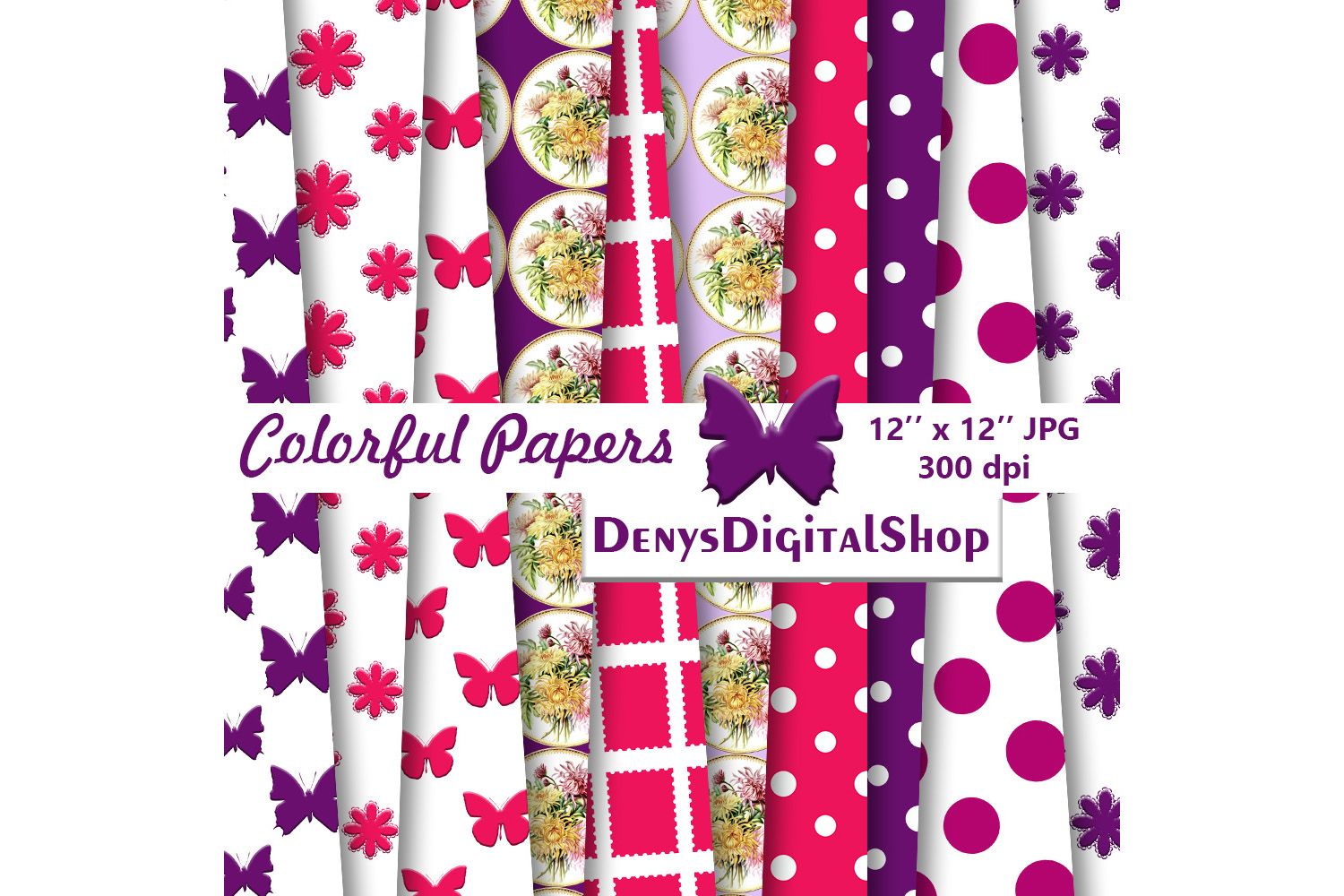 Colorful Patterned, Colorful Butterfly, Colorful Fowers,SALE example image 2