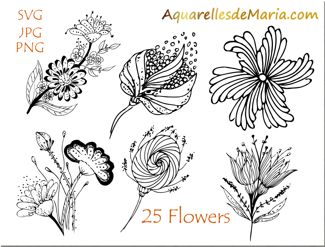 Flower Hand Drawn Vector Silhouette Example Image 1
