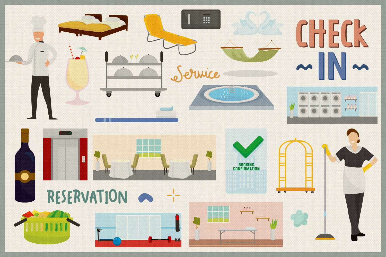 Hotel Service Vector Clipart & Seamless Patterns example image 4