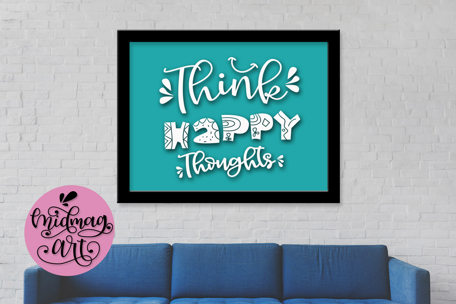 Think happy thoughts svg, png, jpeg, eps and dxf example image 3