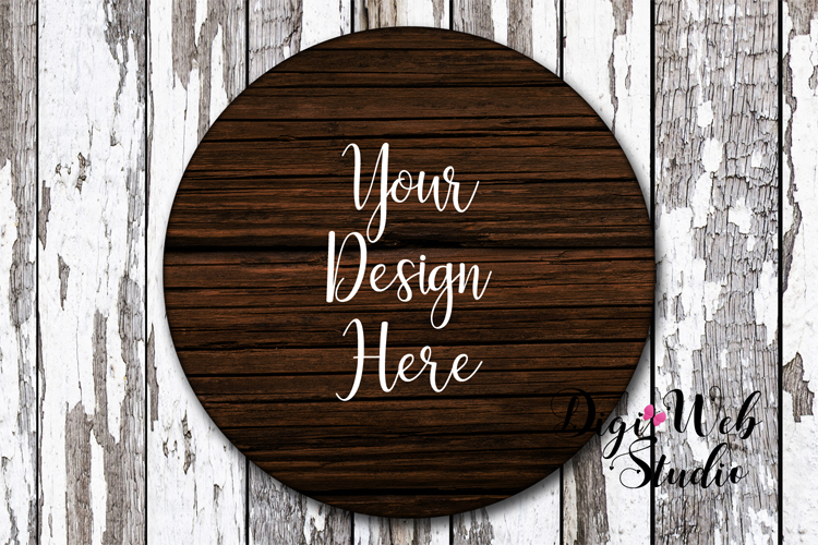 Wood Sign Mockup - Dark Wood Round Sign on Distressed Wood example image 1