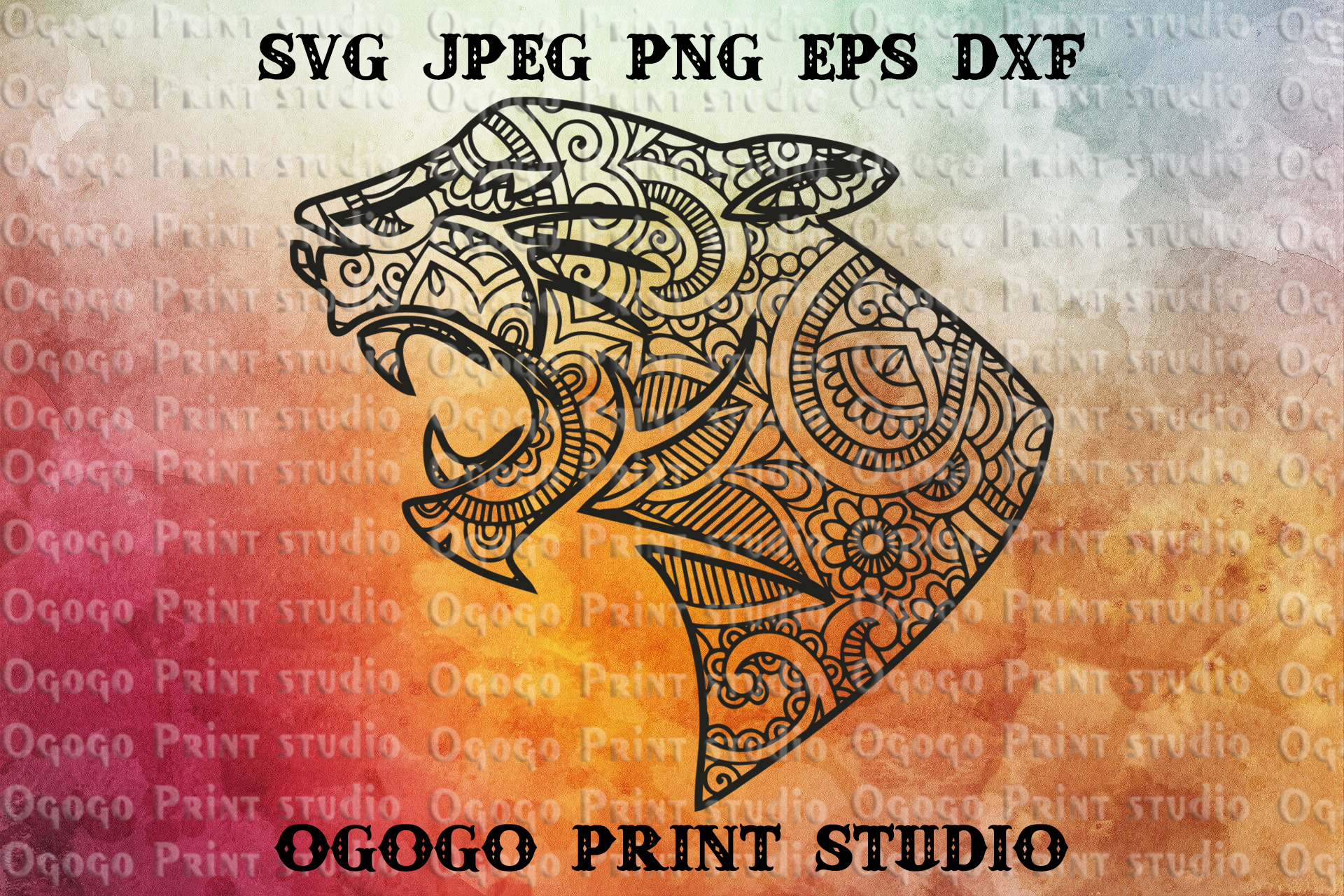 Black Panther Svg, Cat Svg, Zentangle SVG, Animal svg,Jaguar example image 1