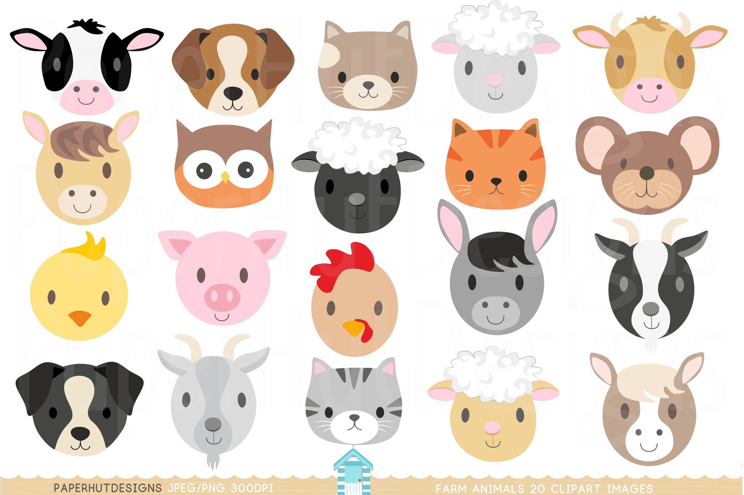 Farm Animal Faces Clipart (137023) | Characters | Design ...