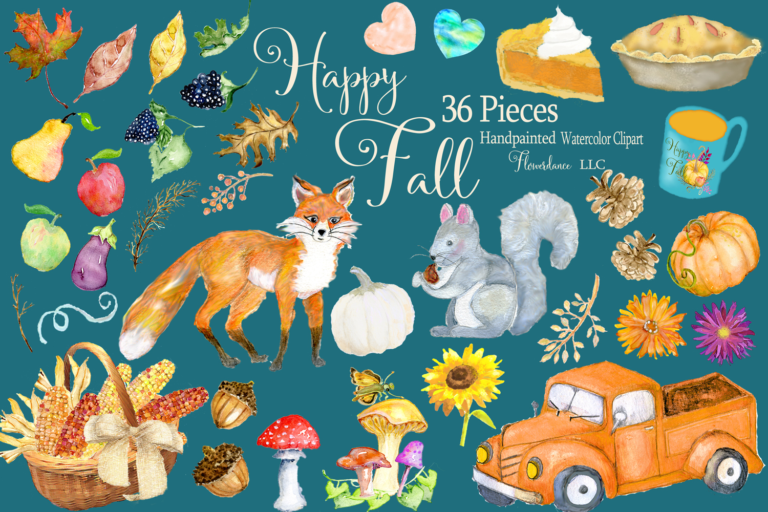Watercolor Fall Clipart - Autumn Clipart - Transparent PNG example image 3