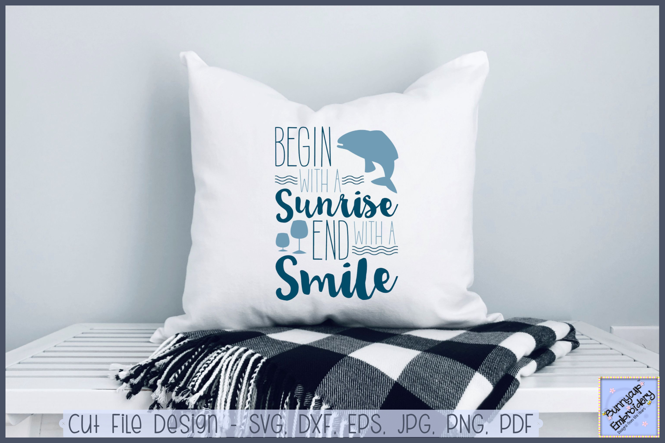 Begin With A Sunrise End With A Smile - SVG, Clipart example image 1