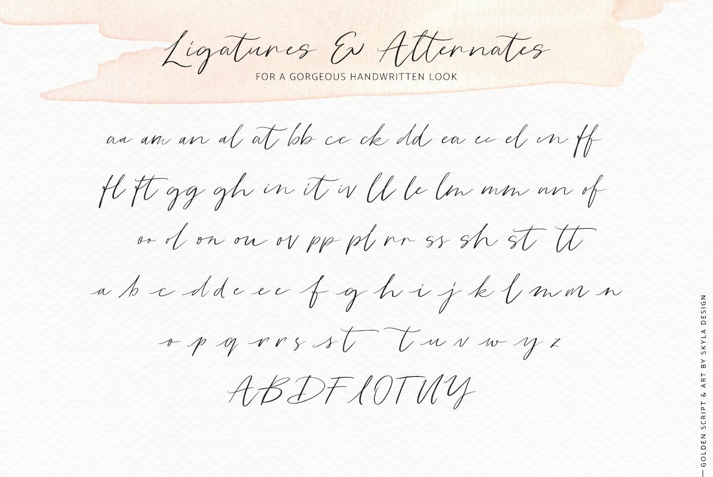 Golden, a romantic wedding script font example image 12