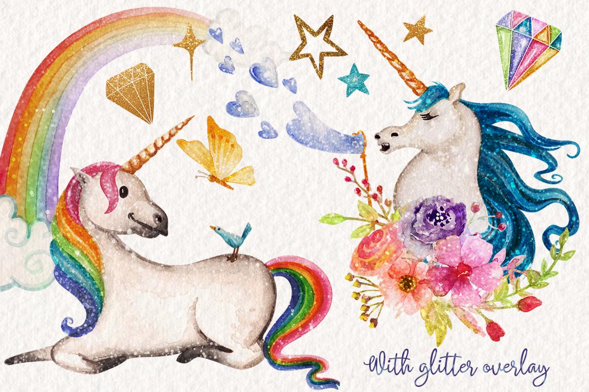 Watercolor Unicorns Graphics example image 5