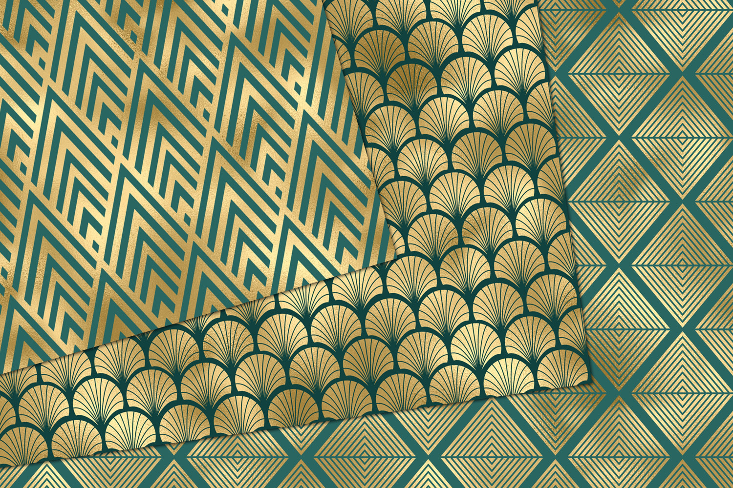 Teal and Gold Art Deco Digital Paper example image 4