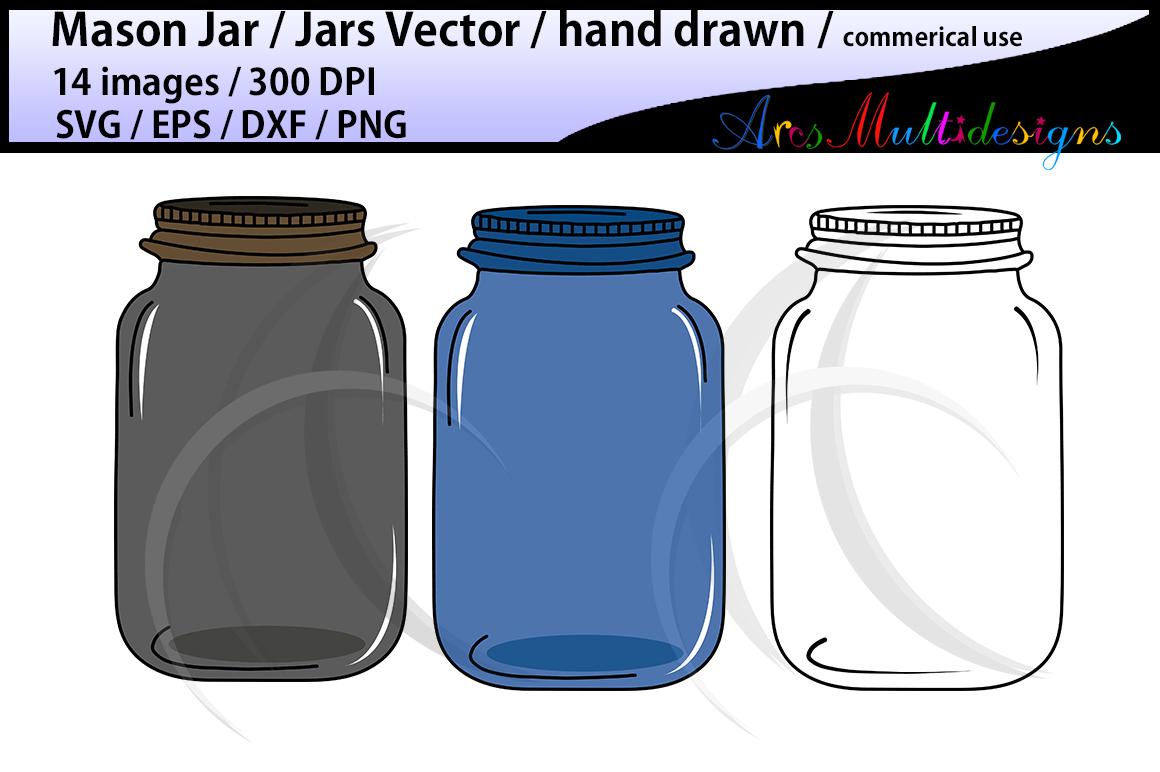 Mason jar clipart set / hand drawn mason jar clipart / mason jar SVG EPS DXF Png / mason jar silhouette / commercial and personal use vector example image 2