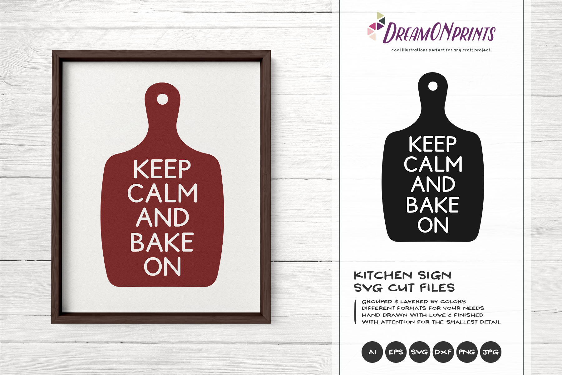 Keep Calm and Bake On SVG - Kitchen SVG Cut Files example image 1
