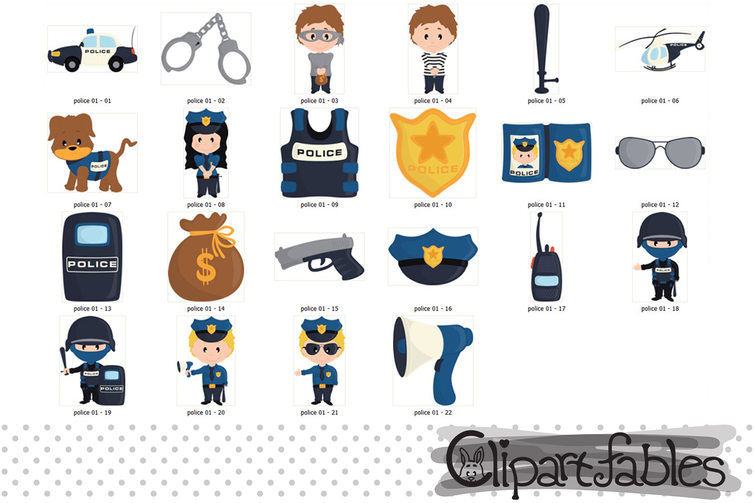 POLICE clipart, Cute policeman and bandit - INSTANT download example image 2