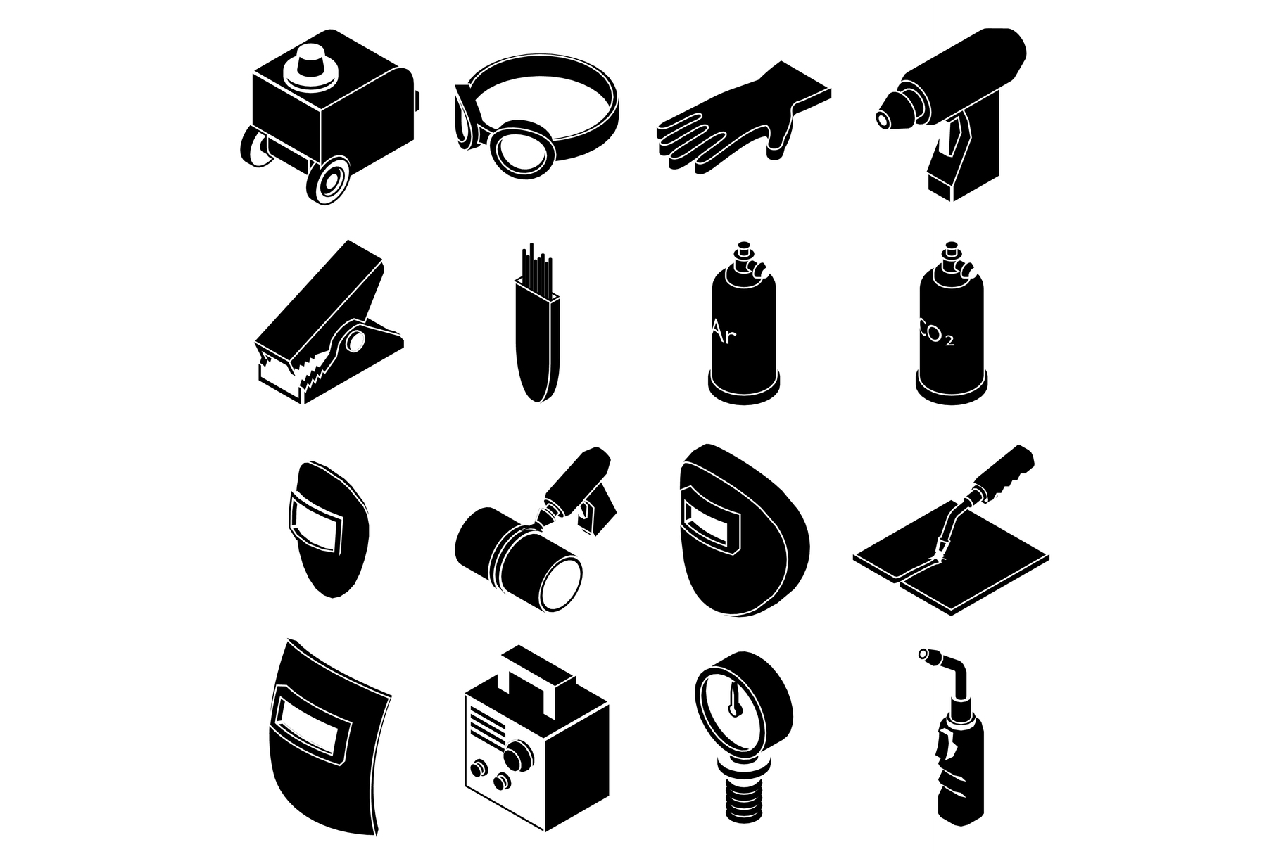Welding tools icons set, simple style example image 1