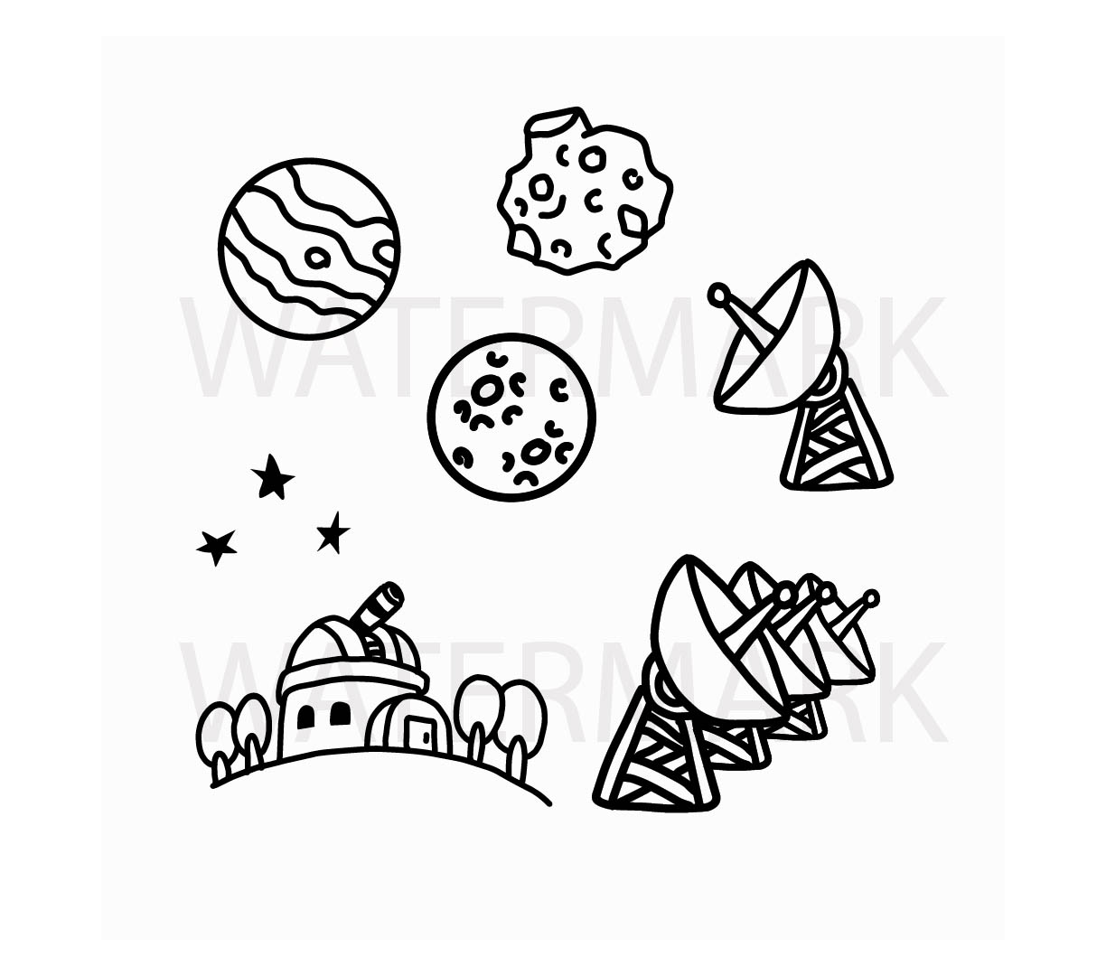 Bundle set of telescope tower star and planets with satellite  - SVG/JPG/PNG Hand Drawing example image 1