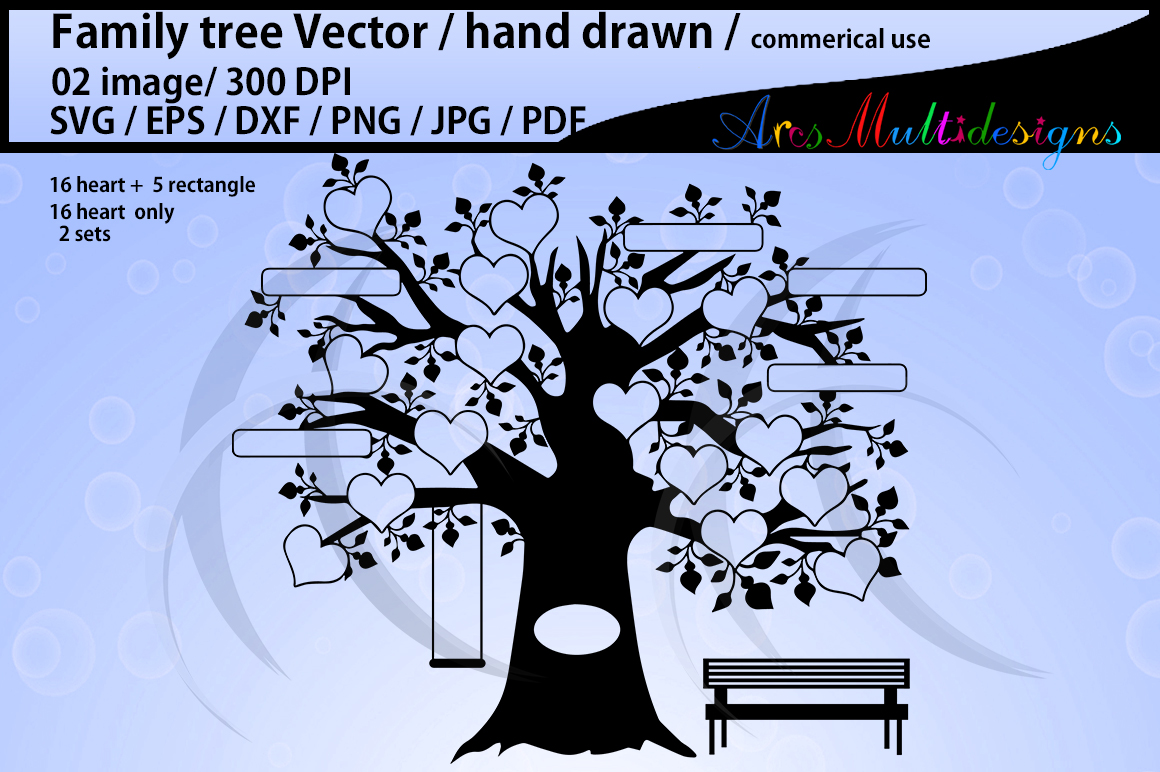 family tree clipart SVG, EPS, Dxf, Png, Pdf, Jpg / family tree silhouette / hand drawn family tree svg / vector / Commerical & personal use example image 3