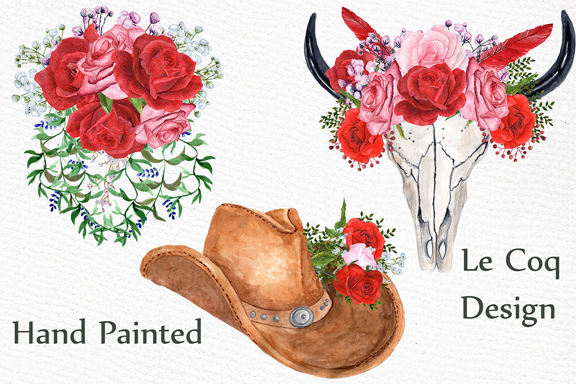 Watercolor Red Roses bouquets example image 2
