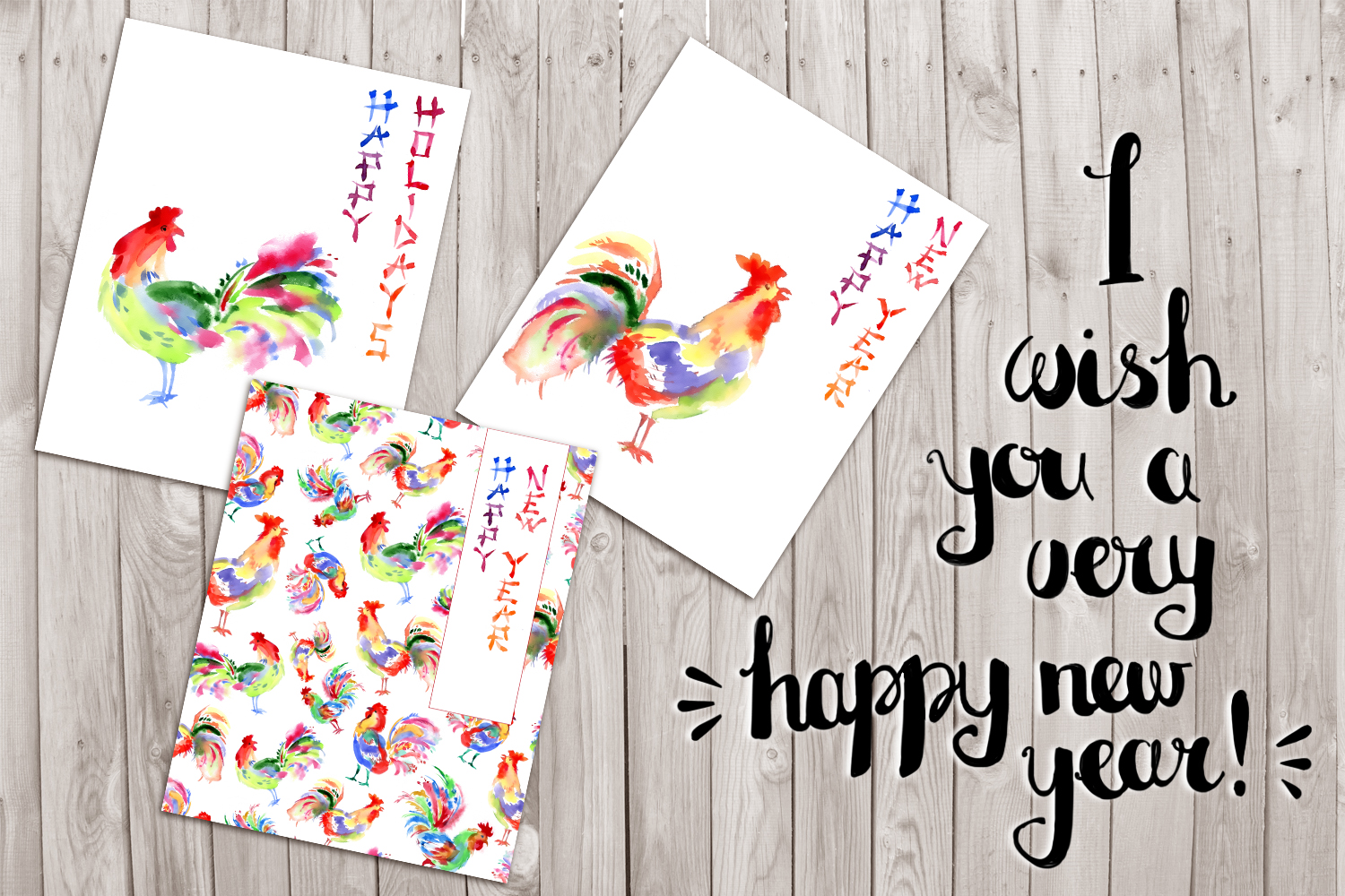 Watercolor hand drawn bright greeting card with the rooster, chinese style. New year invintation, hieroglyphic writing example image 2