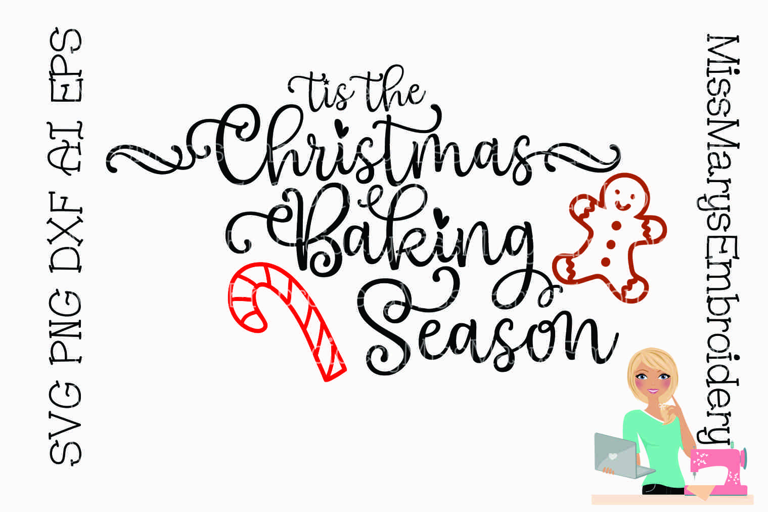 Christmas Baking Season Saying SVG Cutting File PNG DXF AI example image 1