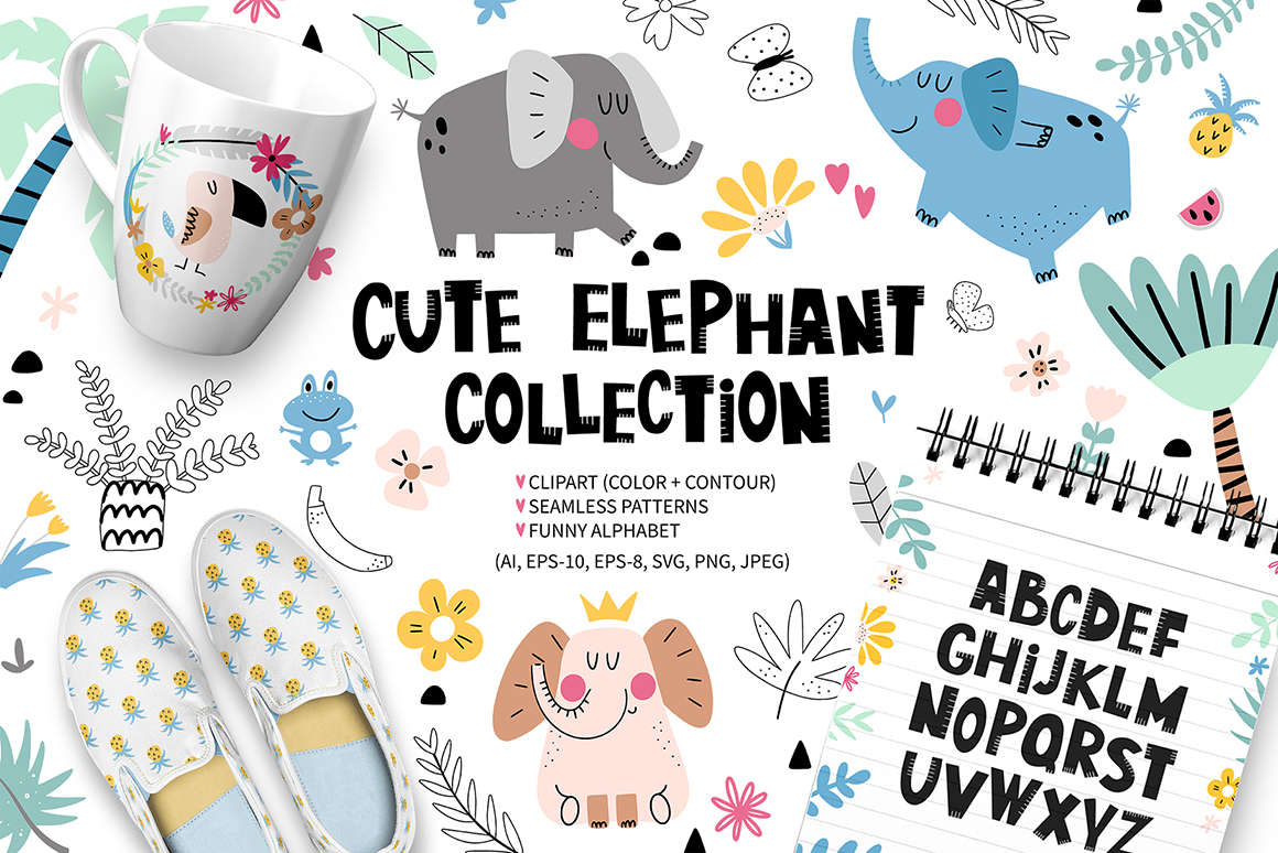 Cute elephant collection example image 1