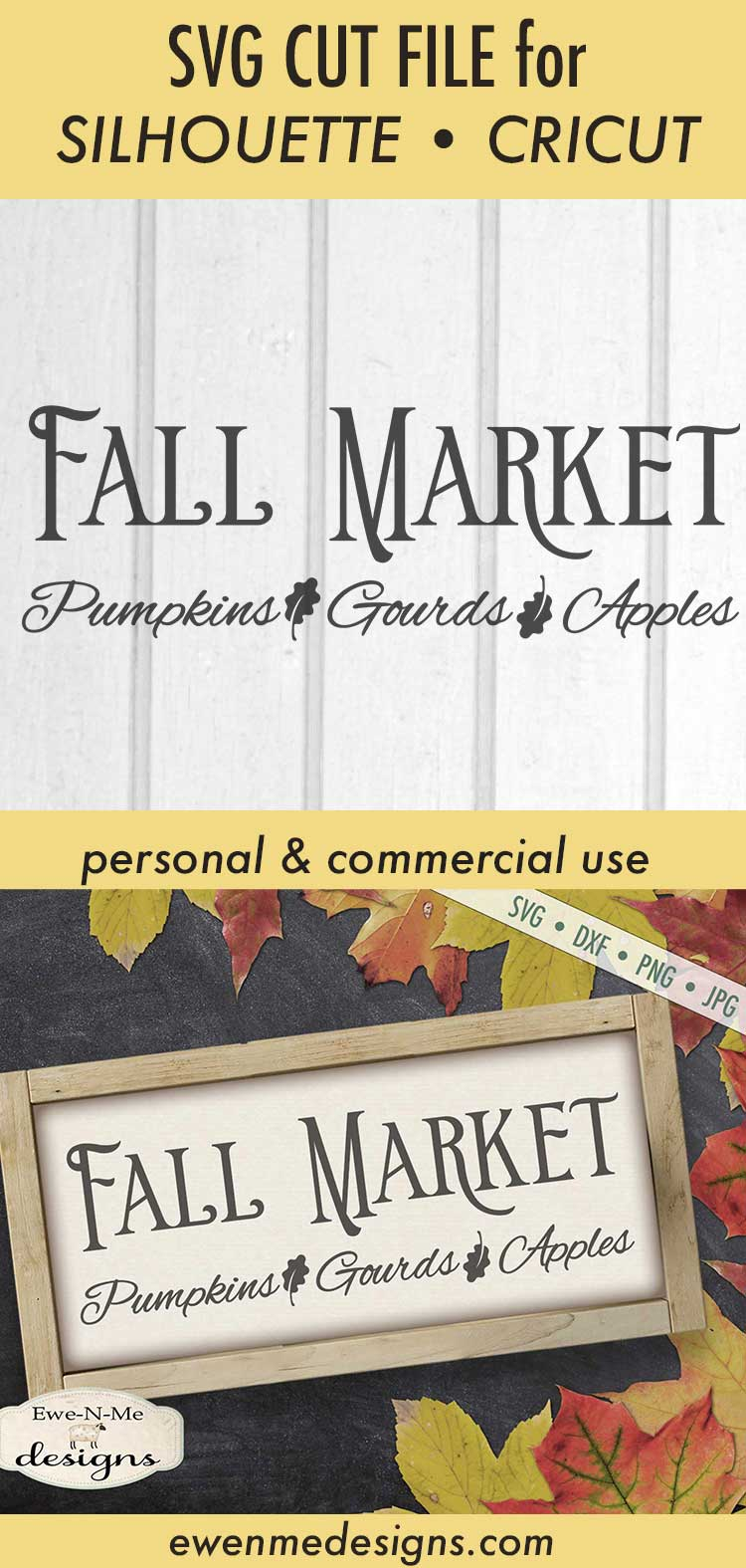Fall Market - Pumpkins Gourds Apples - Autumn - SVG DXF example image 3