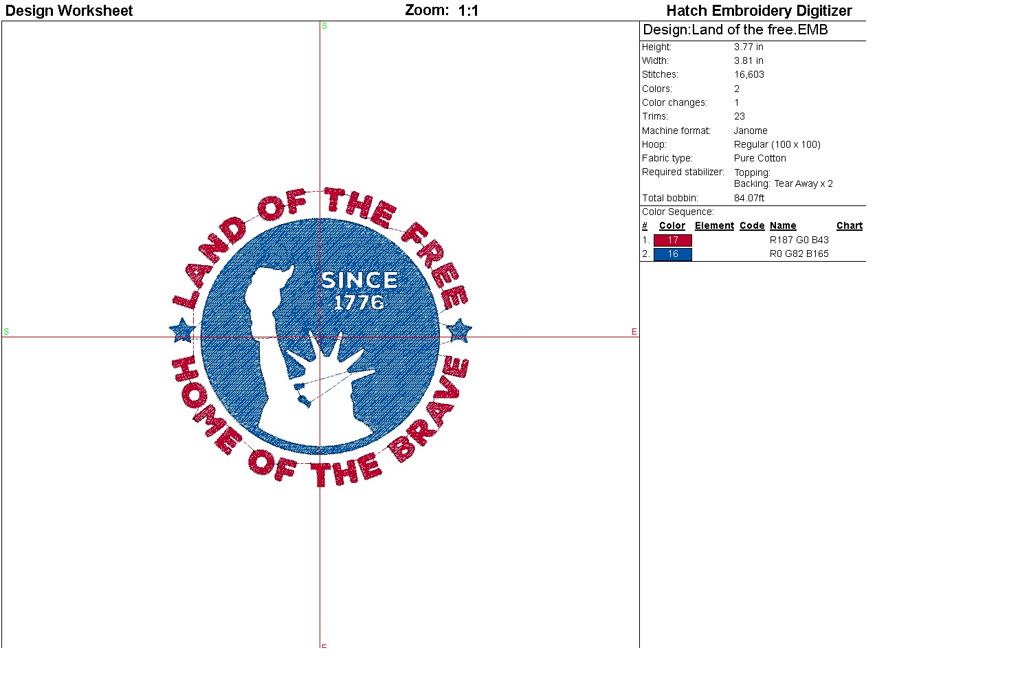 Land of the free| Independence day | Machine embroidery| example image 2