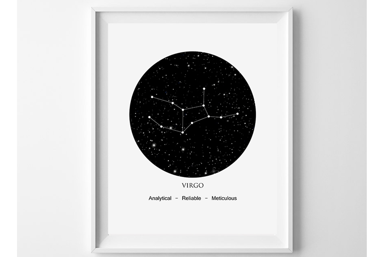 Virgo Zodiac, Constellation Print Download, Astrology Virgo example image 1