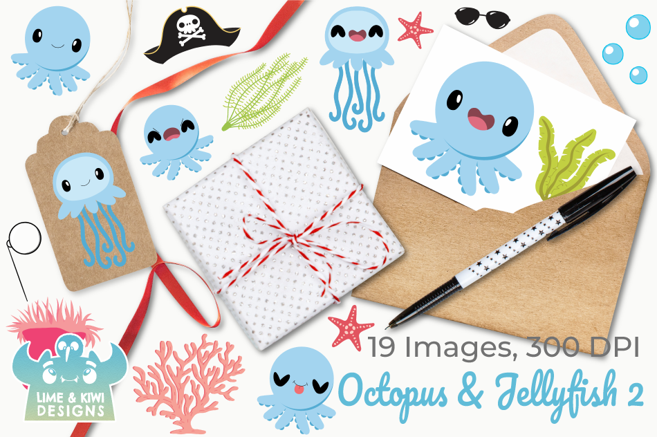 Octopus & Jellyfish 2 Clipart, Instant Download Vector Art example image 4