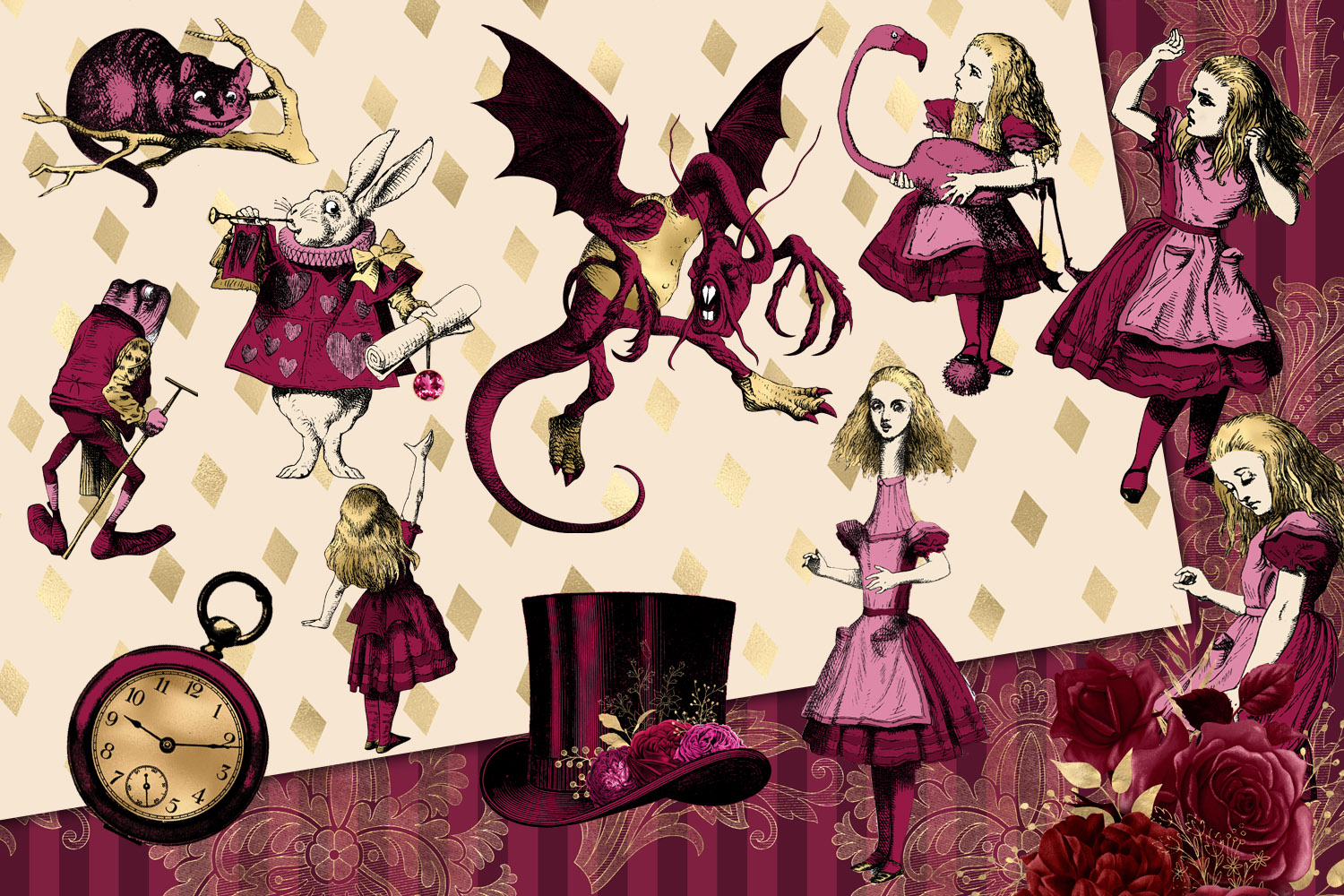Burgundy and Gold Alice in Wonderland Graphics example image 2