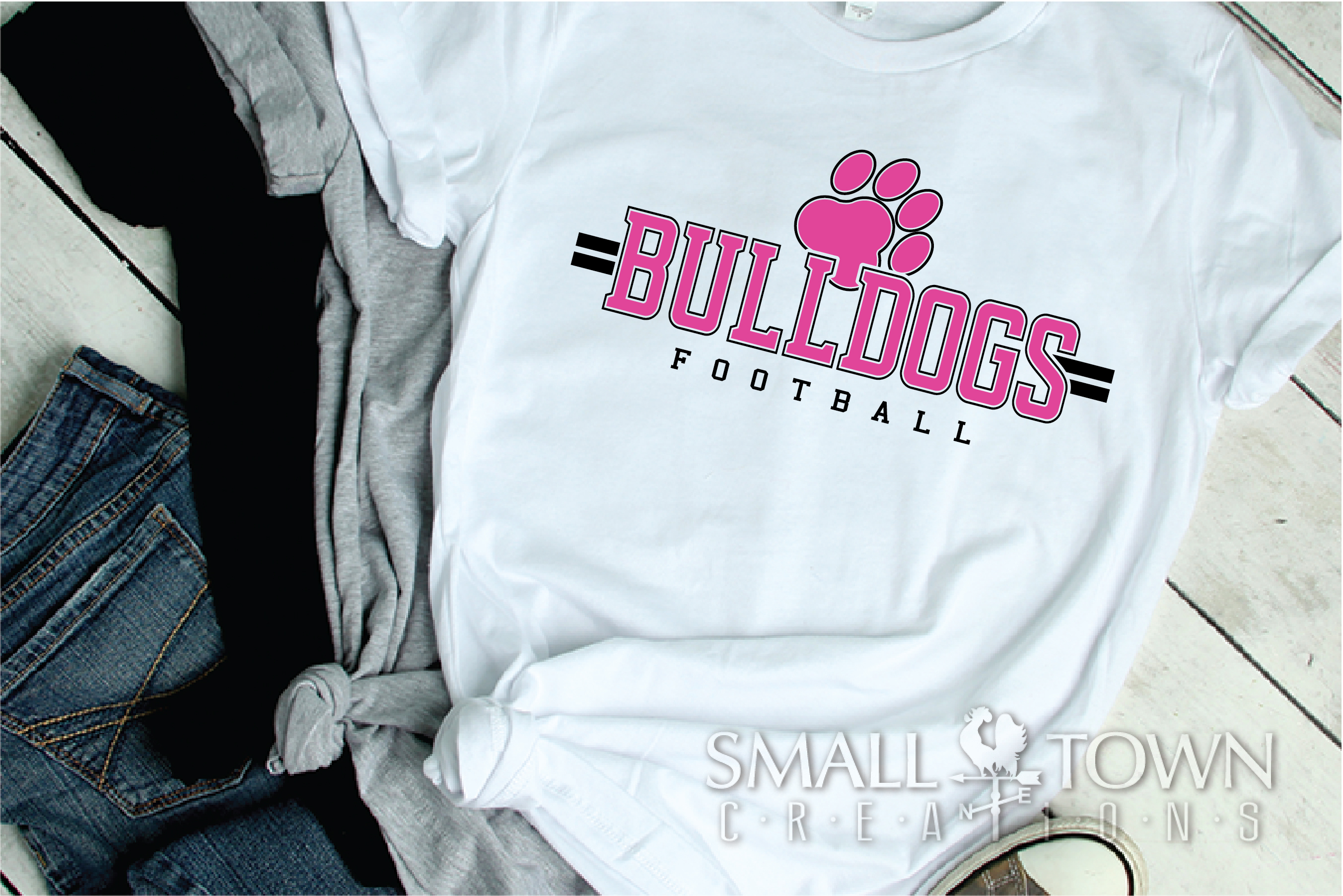 Bulldog Football, Paw Print, Team, PRINT, CUT & DESIGN example image 2