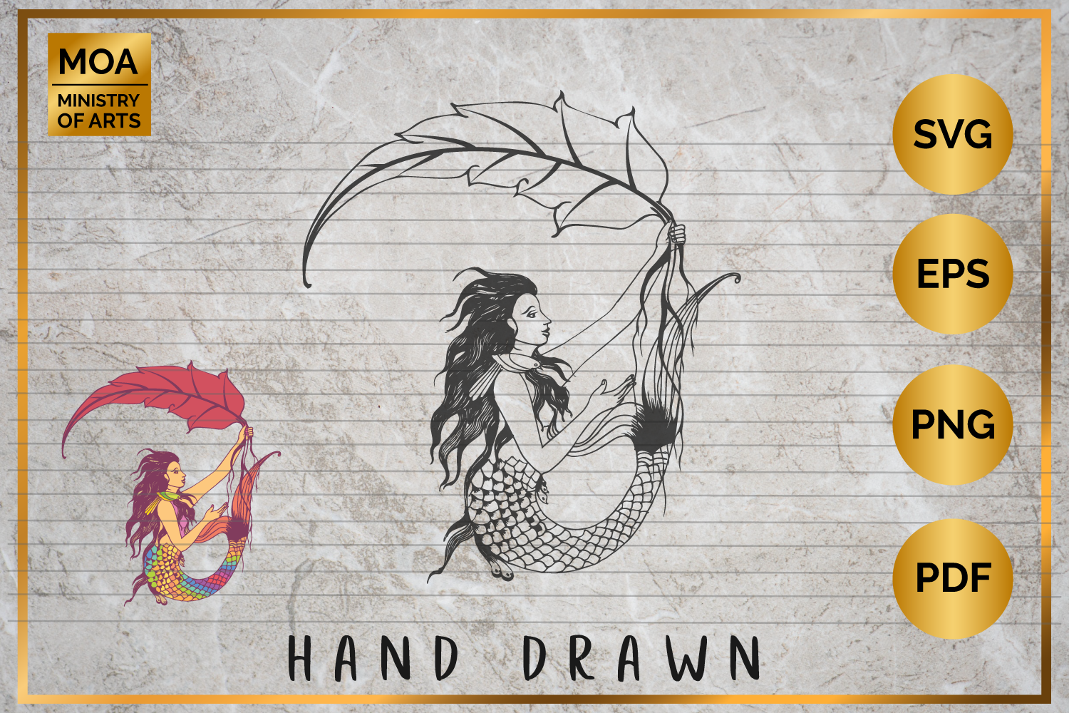 Hand Drawn Mermaid SVG PNG PDF example image 1