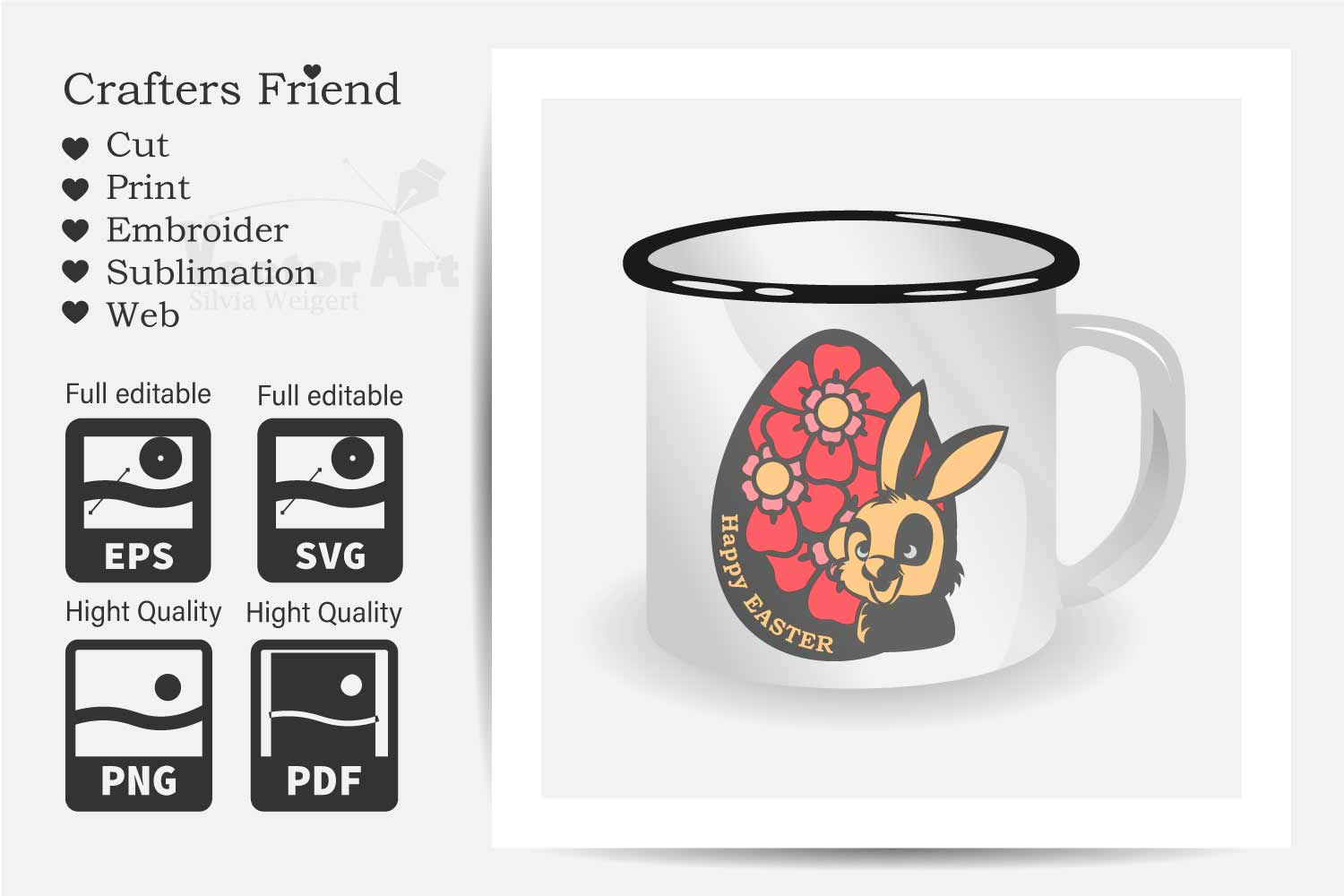 Happy Easter - Bunny in Egg with Flower - Print and Cut example image 2