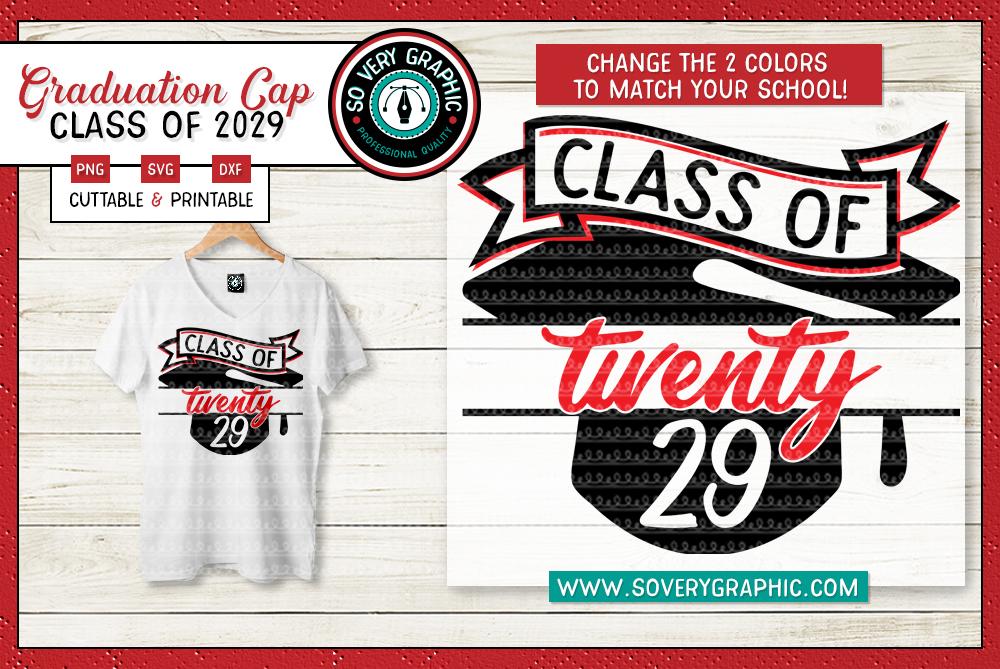 Class of 2029 Graduation Cap SVG Cut File example image 1
