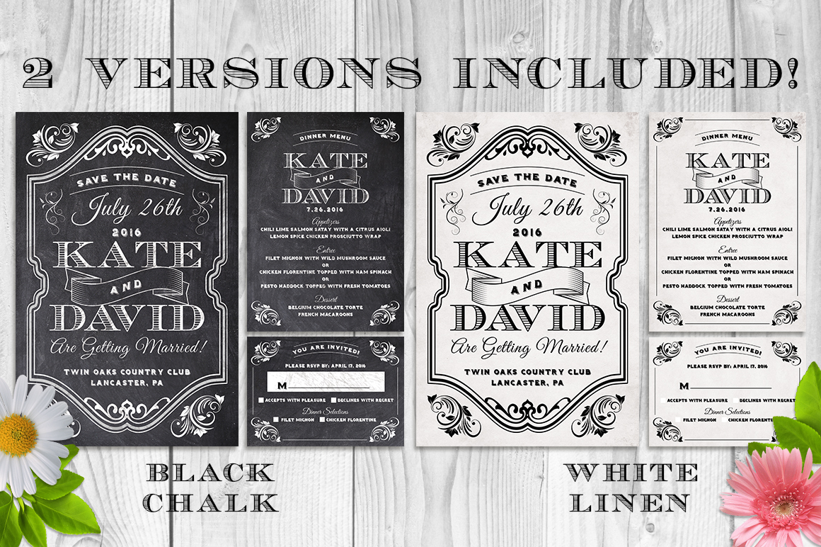 Elegant Chalk Wedding Invite Bundle example image 1