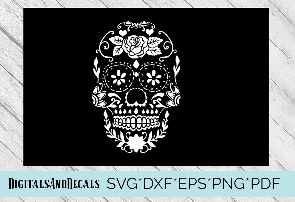 Sugar Skull Stencil SVG Cutting File example image 1