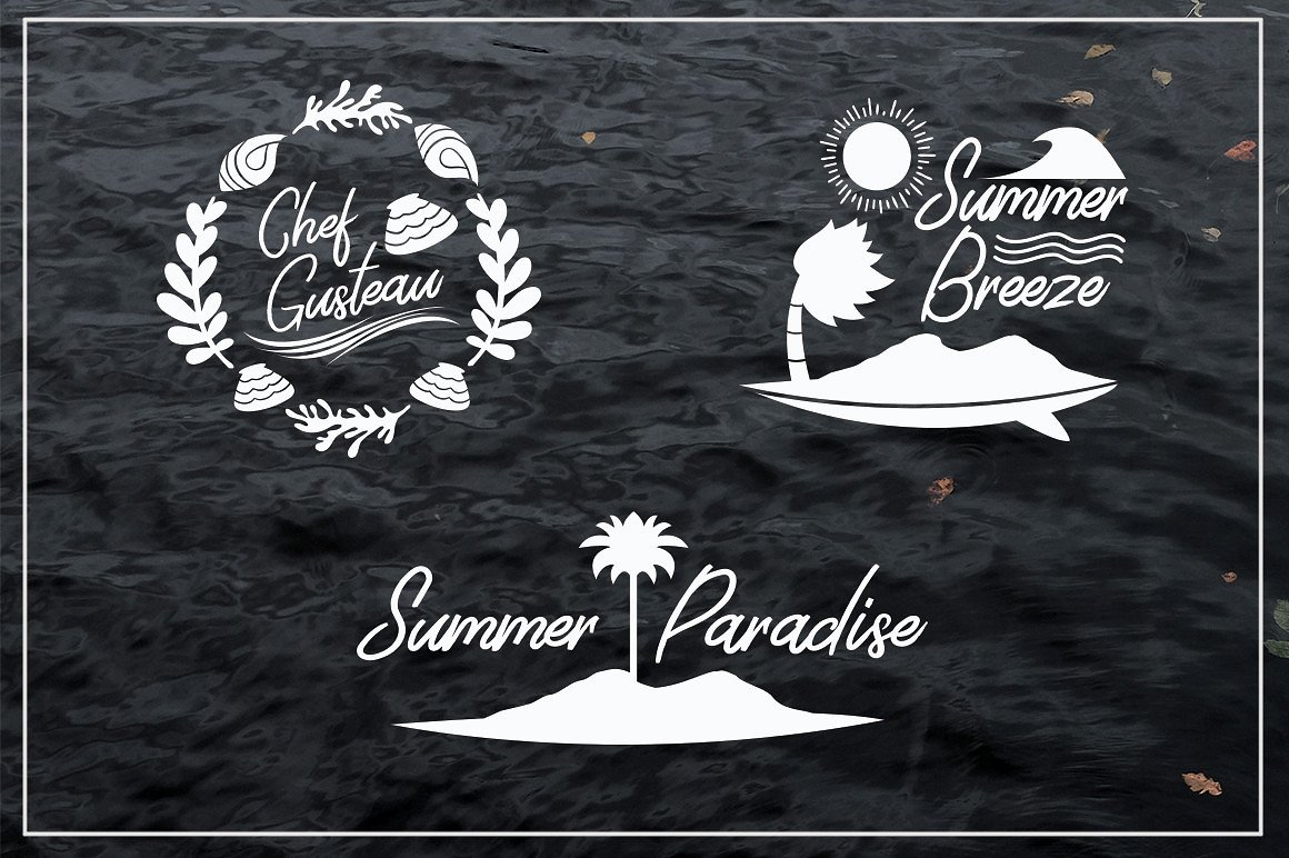 Harmonic Script With Summer Illustration Package Bundle example image 4