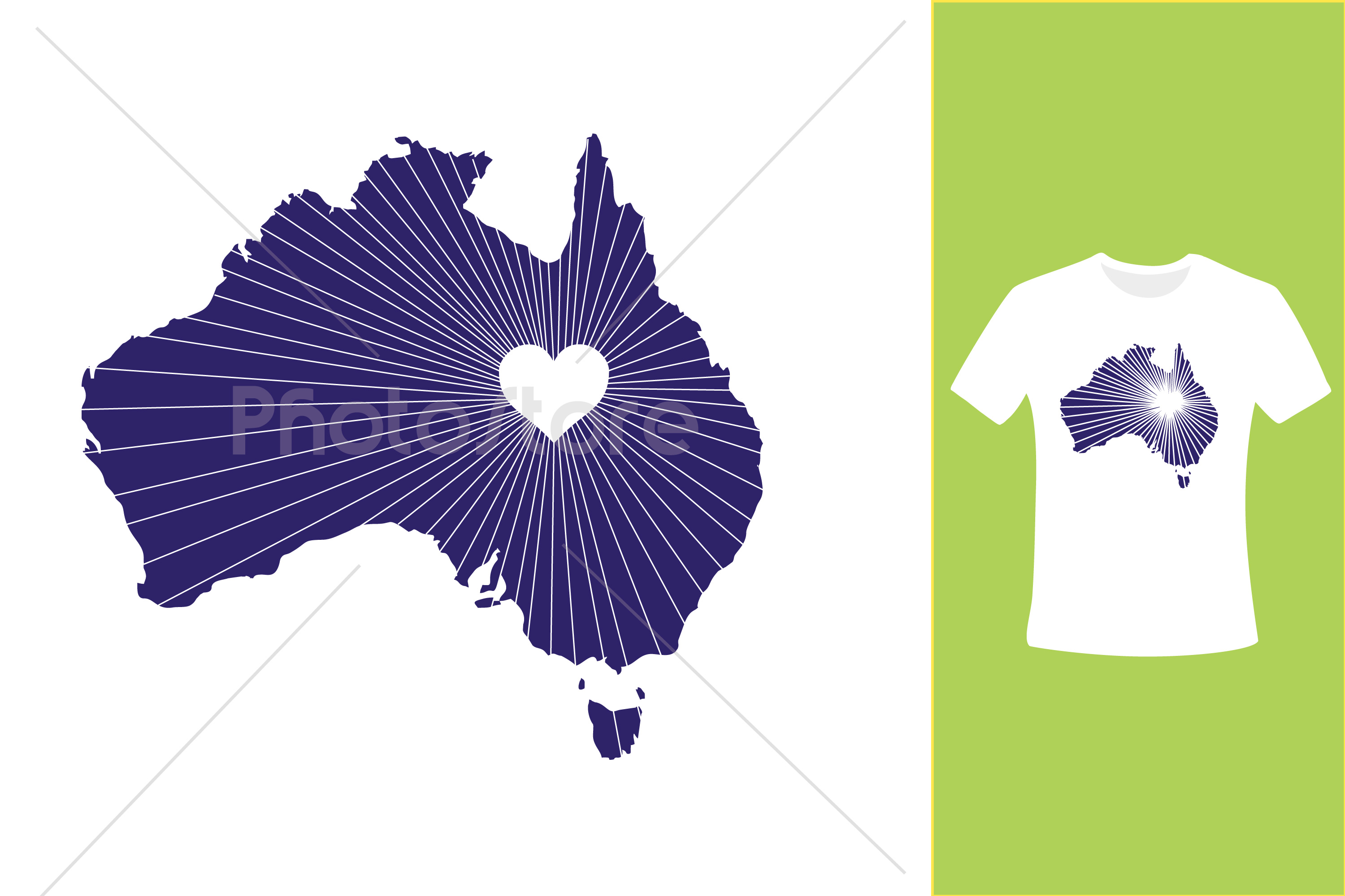 I Love Australia, Country Map Silhouette example image 3