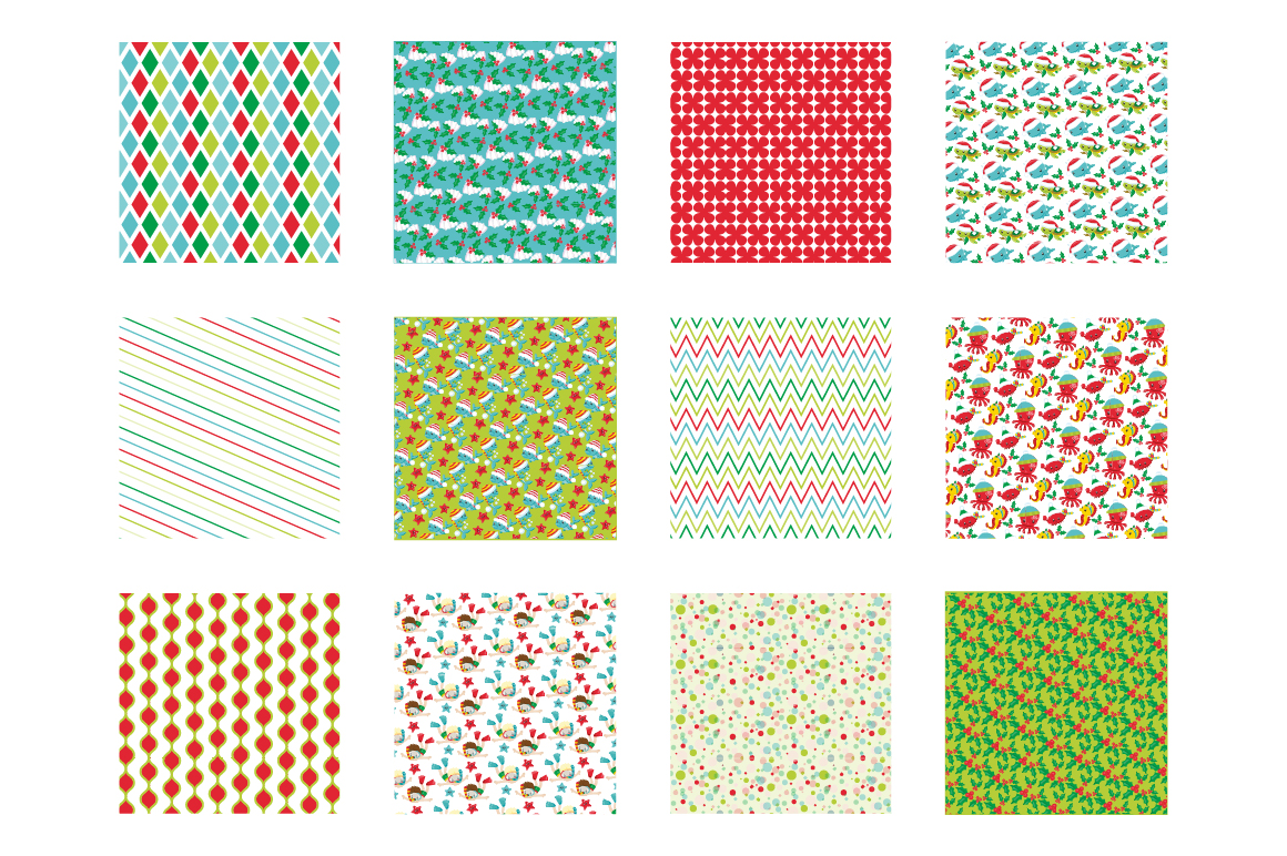 Christmas Underwater Pattern collection, vector ai, example image 2