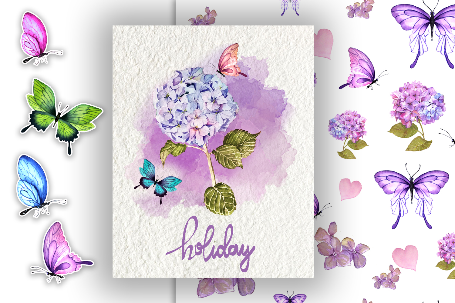 Watercolor clipart of hydrangea, butterflies and teddy toys example image 5