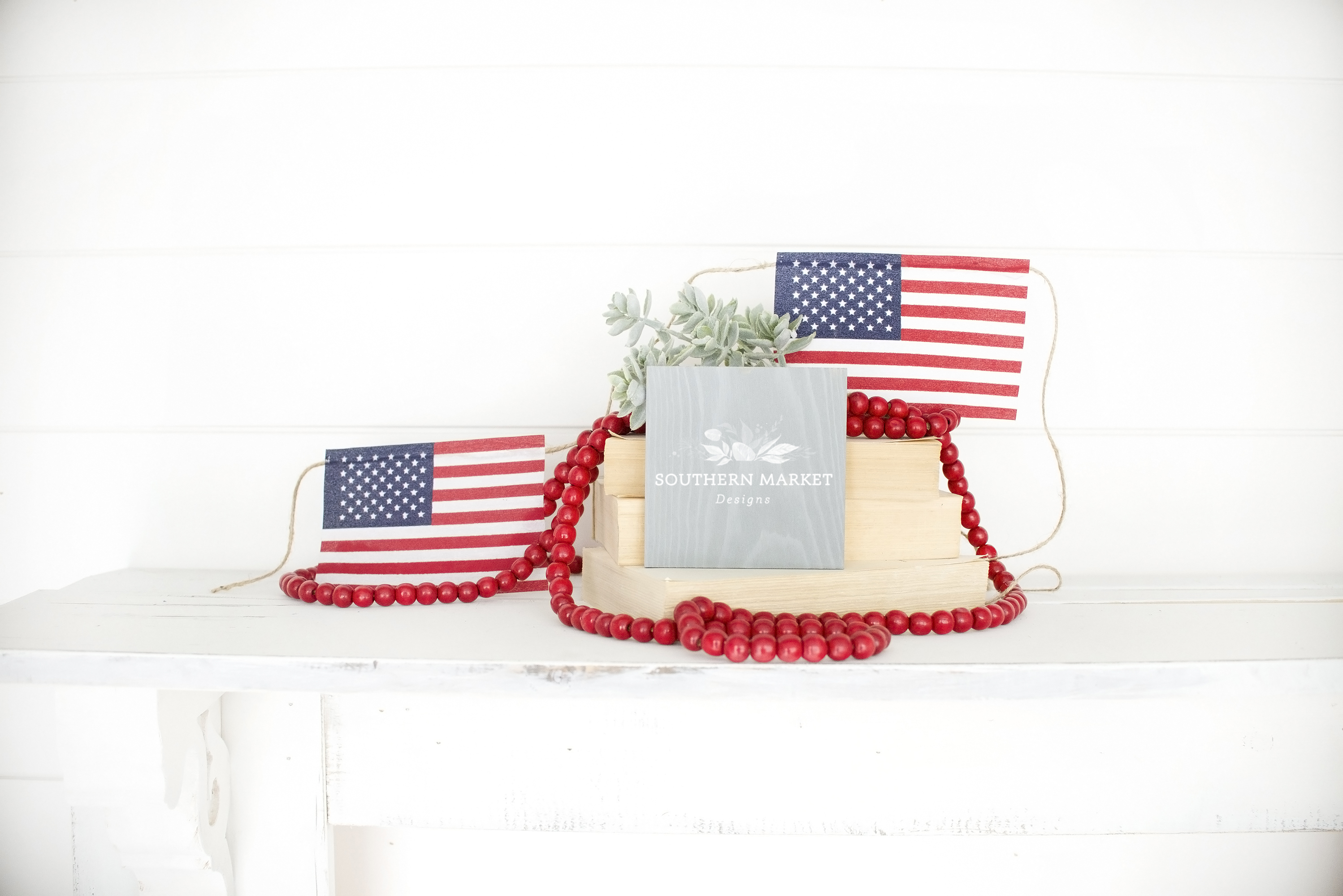 Patriotic Summer Wood 6x6 Sign Mock Up Stock Photo example image 1