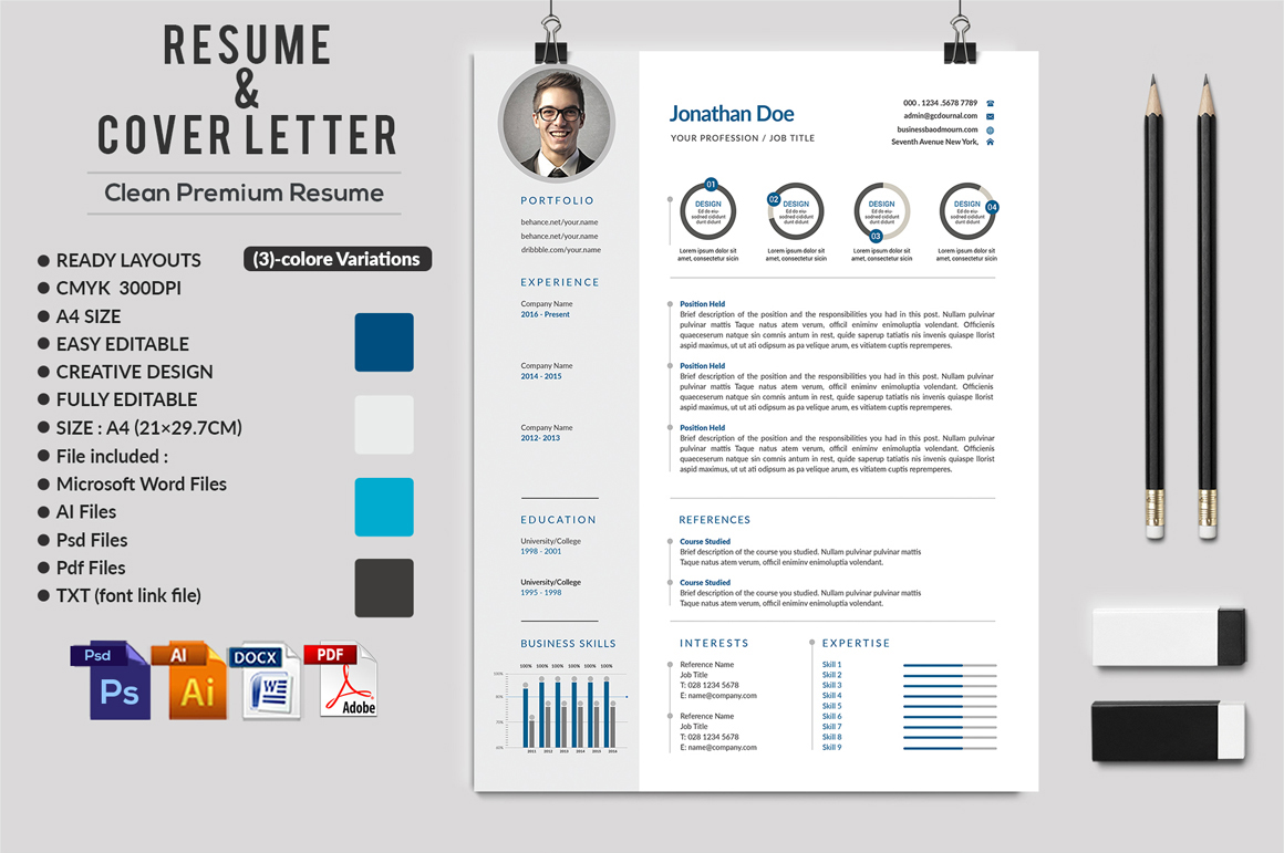 12 Clean Rsume Invoice and Letterhead Bundle example image 6