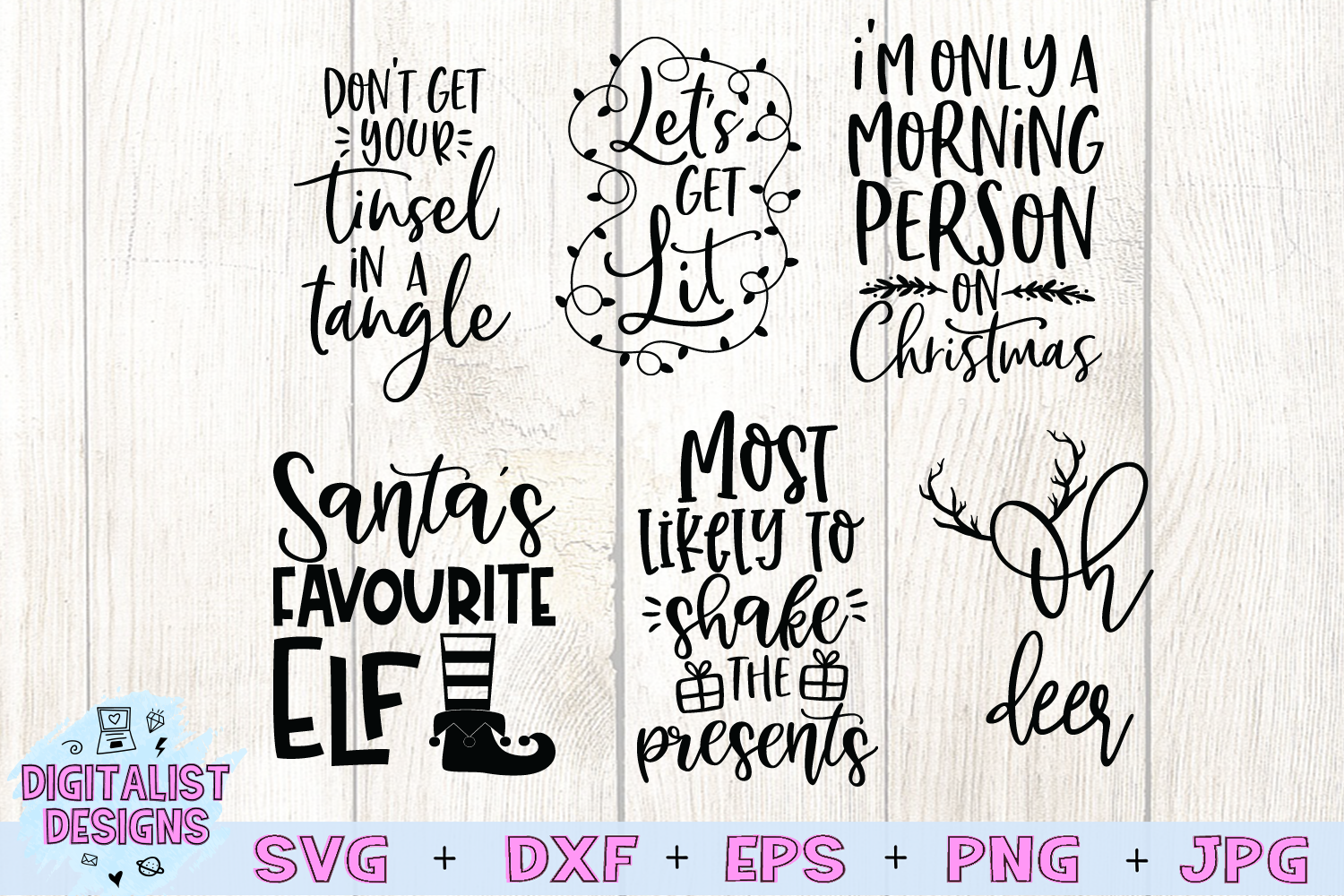 Funny Christmas SVG Bundle | 25 Christmas Sassy Quotes example image 3