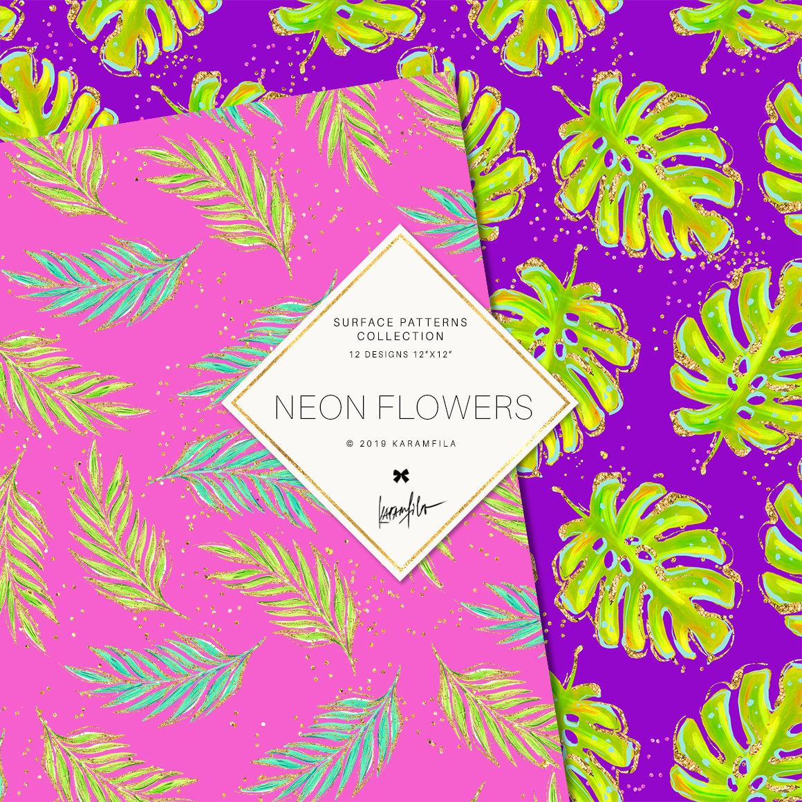 Neon Tropical Digital Paper, Tropical Floral Patterns example image 6