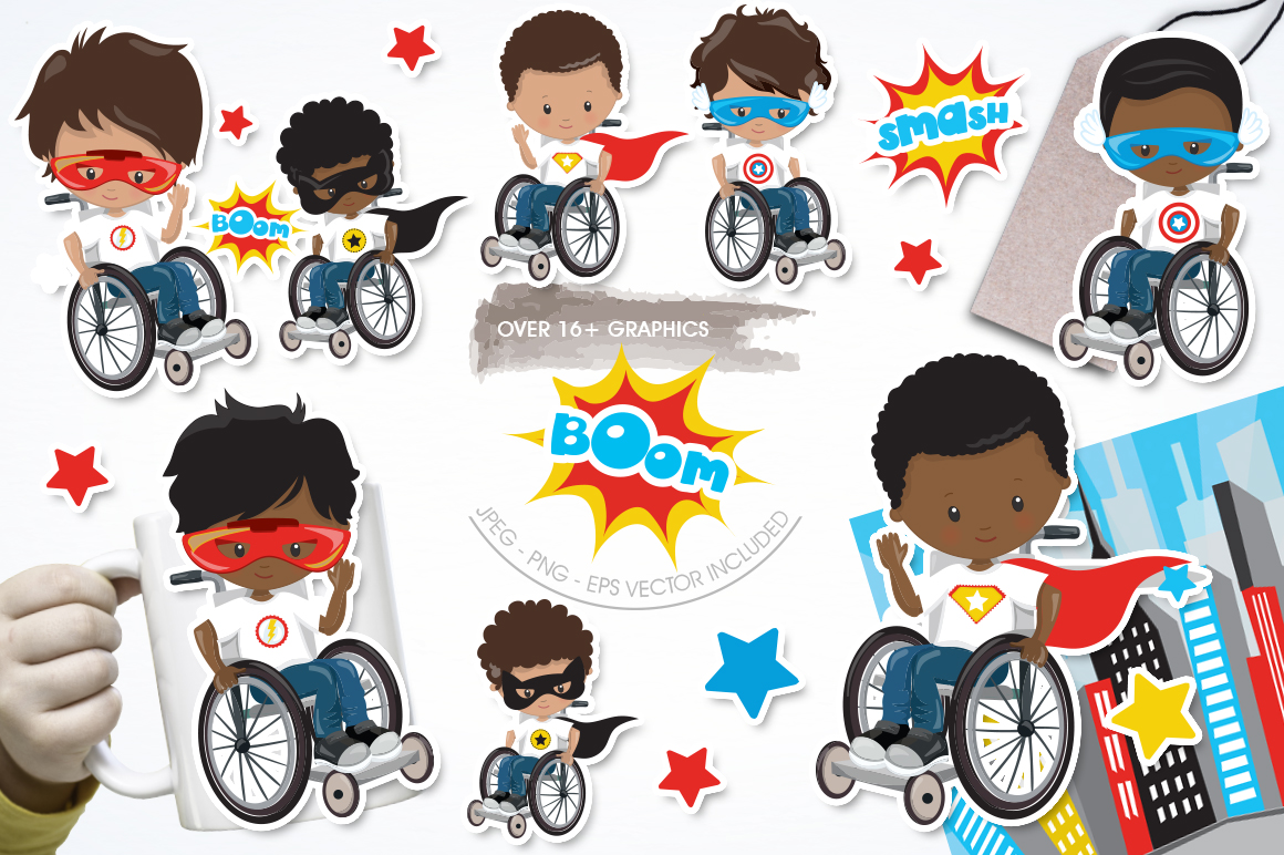 Superhero in wheelchair graphic and illustrations example image 1