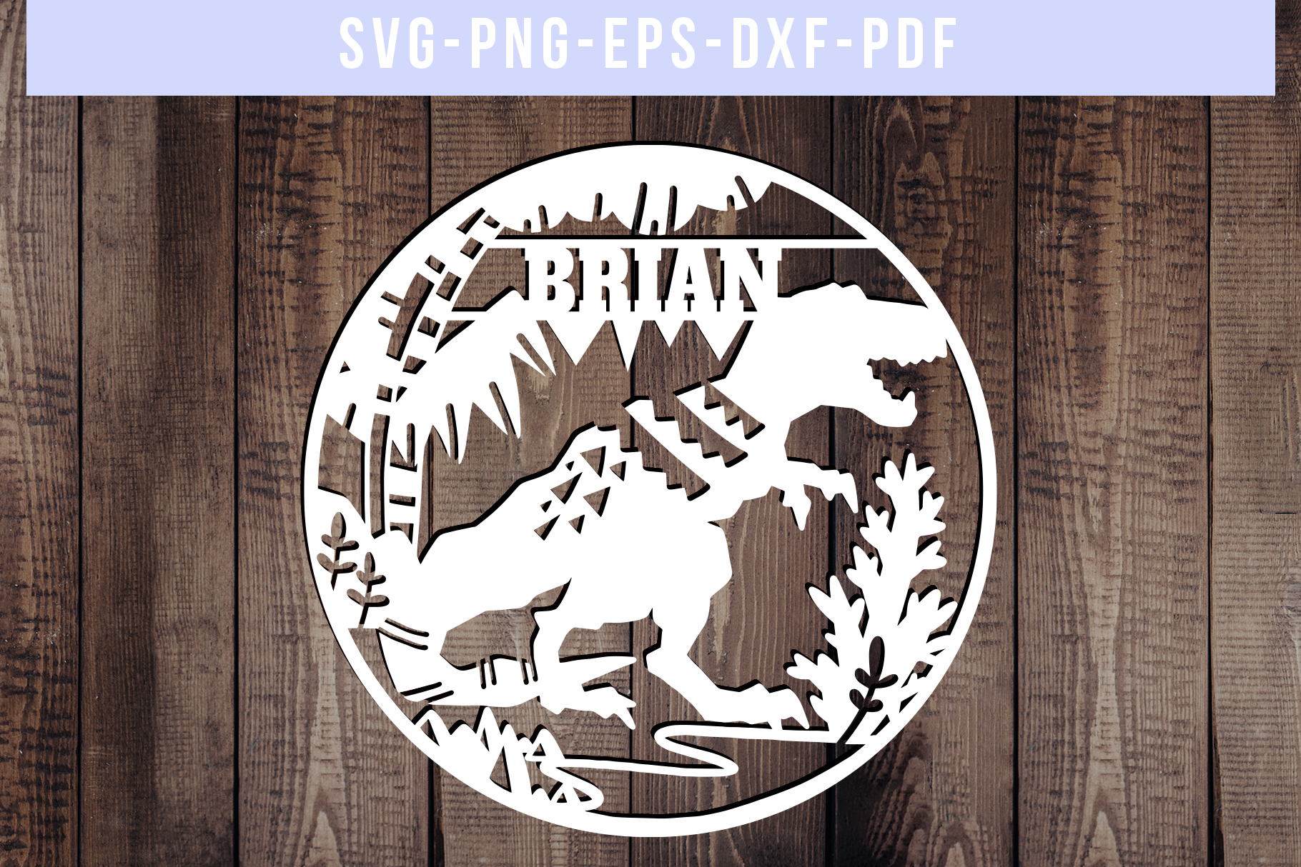 Customizable Dinosaur Papercut Template, T-Rex SVG, DXF, PDF example image 1