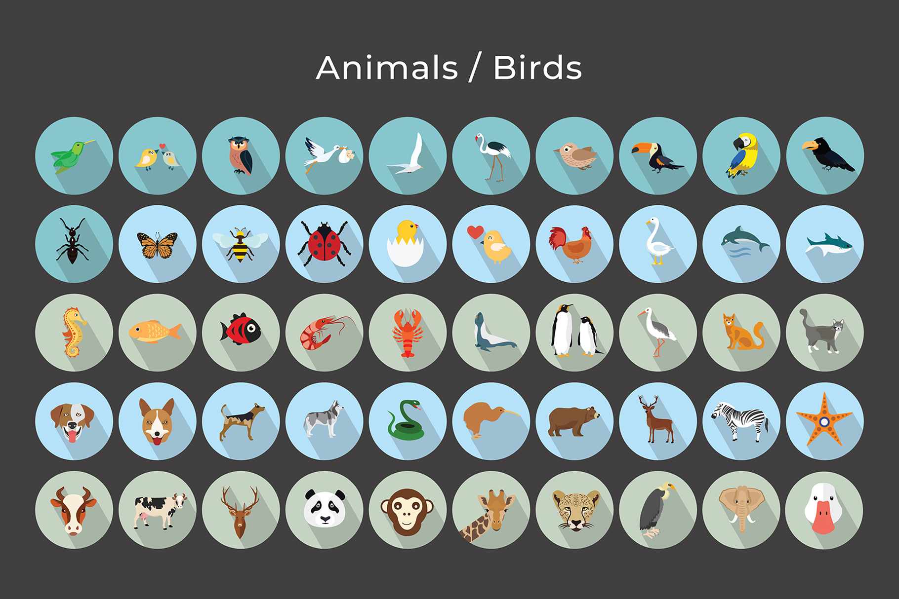 Animals, Birds, Insects Vector Icons example image 5