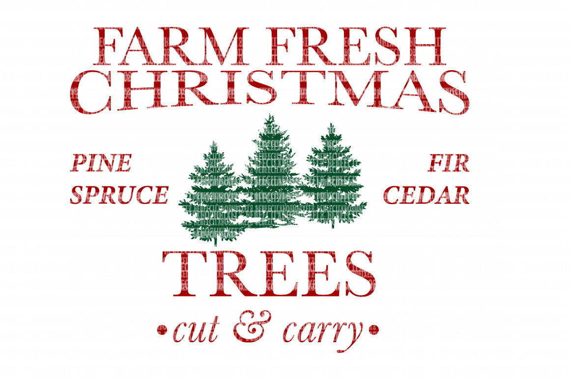 Farm Fresh Christmas SVG Files Cut Files Heat Transfer Vinyl Scrapbooking Stencil EPS DXF Silhouette Cameo Cricut Commercial Use example image 1