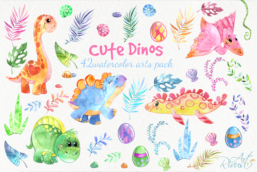 Dinosaurs, cute dino's baby watercolor clipart pack example image 2